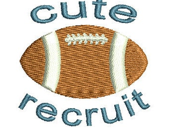 cute recruit football embroidery design Instant Download