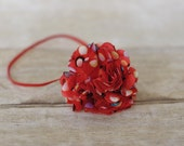 Red Confetti Puff Skinny Headband