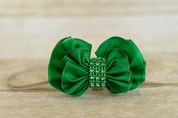 Kelly Green Shimmer Bow adorned with rhinestones on a skinny elastic headband