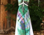 Tie-Dye Hippie Dress Hand-Dyed Boho Corset-back Sundress-RESERVED FOR FRAN