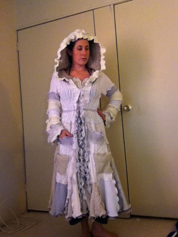 Upcycled Sweater Coat Hippie Elf Hoodie OOAK - White duster - RESERVED for Marilyn