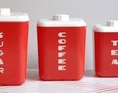 1950 Vintage Red Lustro Ware Canisters
