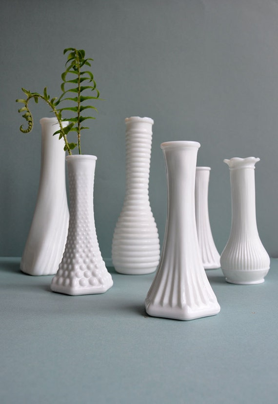 Milkglass Vase Collection - Set of 6