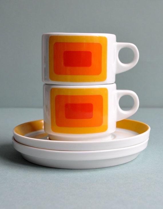 """Op Art """"Joy 3"""" Pair Cups - Rosenthal Studio Linie"""