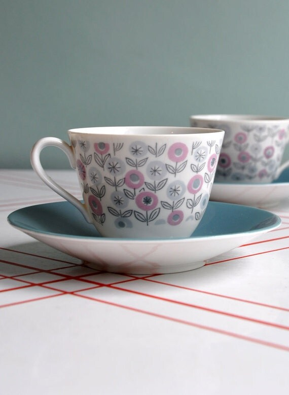 Modernist Flowers Cup & Saucer - Rorstrand Sweden