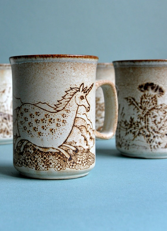 SALE 10% OFF Scottish Unicorn & Thistle Mugs - Set of 6