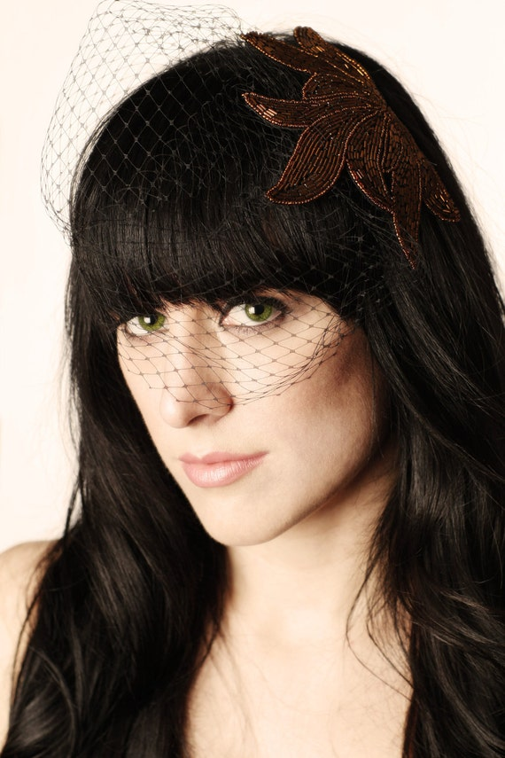 Black Birdcage Veil with Bronze Beaded Applique- Hair Accessory
