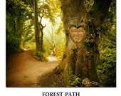 Personalized Photo your name carved into a tree FOREST PATH TREE