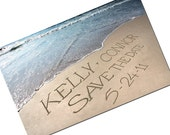 Beach Wedding Save the Date LOW TIDE Photo cards with envelopes personalized with your name written in the sand