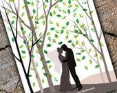 Wedding fingerprint print tree guest book alternative Forest Shadow Art silhouette poster