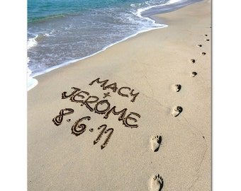 Name written in sand BEACH STROLL Photo personalized
