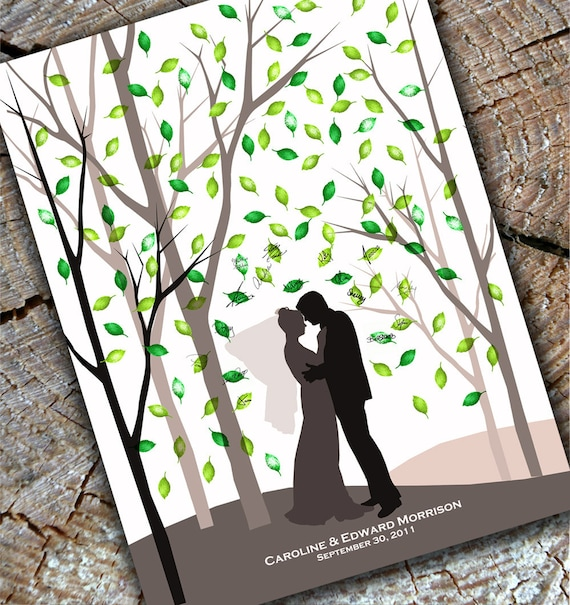 Wedding guest book alternative fingerprint print tree Forest Shadow Art silhouette poster 13x19