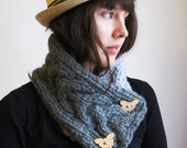 Knitted Scarf/ Dove gray collar/ Wool Collar with wooden butterfly/ Chunky Knitted Scarf/ Winter Woman Scarf/ Cowl Winter Accessory
