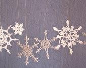 Crochet  Christmas ornaments- holiday decor- Set of 6 Lacy Snowflakes