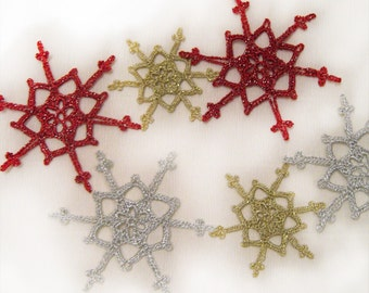 christmas decorations-6 Lacy Silver,Gold and Red Snowflakes