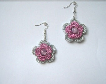 Silver grey & ashes of roses earrings with pearls