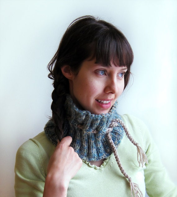 Blue Green Collar/  Kcnitted Neckwarmer