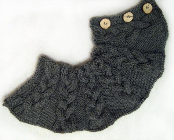 Hand knitted Neck warmer  Dark Grey