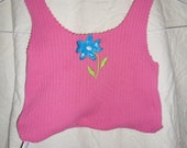 Upcycled recycled Tshirt bag Small Printed Hot Pink Flower
