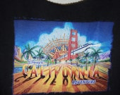 Upcycled recycled Tshirt bag Large printed DCA Disney California Adventure
