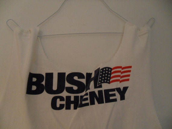 Upcycled recycled Tshirt bag Large printed white BUSH CHENEY political campain