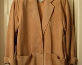 """1980s La Vogue Suede Jacket somewhat unstructured style, works as dressy """"blazer"""" or fall outerwear"""