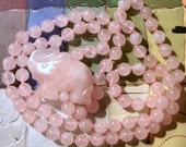 Rose Quartz Necklace with Good Luck Elephant side pendant, 8mm Pale Pink beads, individually knotted