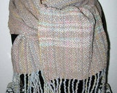 Reserved FOR COLORBAZAAR Hand Woven Scarf Pinehurst, NC Crafters Nubbly Weave, Fringe, Silk & Natural Fiber, blues pink yellow, brown across