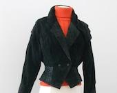 1980s WILSON  LEATHER Black  Rockabilly Suede  Jacket Size  Small / Medium
