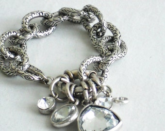 Sliver Charm Bracelet with Crystal Charms