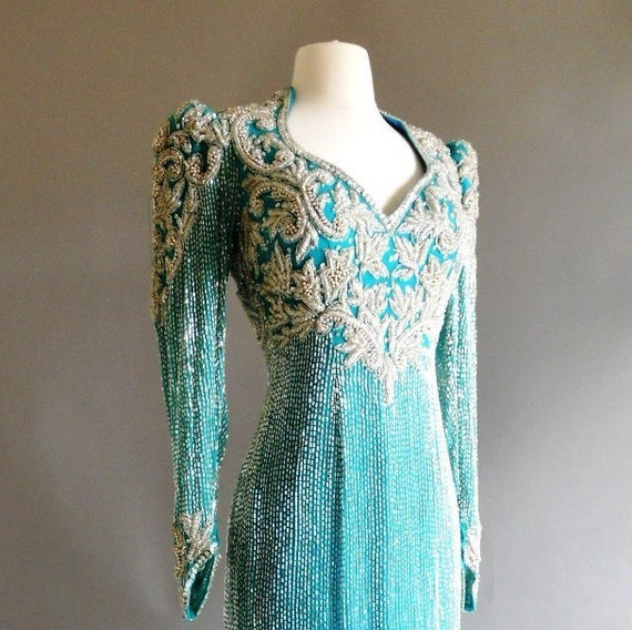 Prom / Pageant  Gown Teal Blue Green Floor length  with Embroidery Sequins and Beading by Claire's Collection