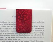"Laminated Designer Magnetic Bookmark ""Holographic Hearts"""