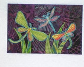 Dragonfly Birthday Card Postcard-MADE To ORDER-Mom Dad Child Friend Family Gift Frame Room Decor Thank You Housewarming 4x6 Fabric Postcard