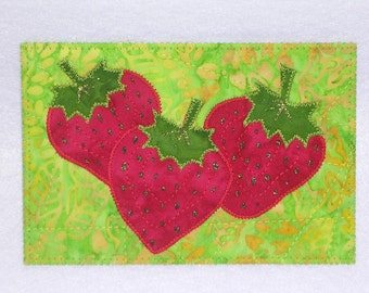 Strawberry Birthday Card Postcard-MADE To ORDER-Mom Dad Child Friend Family Gift Frame Room Decor Thank You Housewarming 4x6 Fabric Postcard