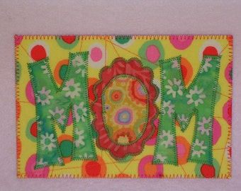 MOM Love Birthday Card Gift Love Postcard Frame 4x6 Applique Quilted Fabric Postcard  send mom love