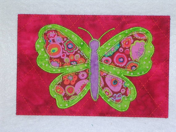 Butterfly    Quilted and Appliqued Fabric Postcard  Happy Butterfly