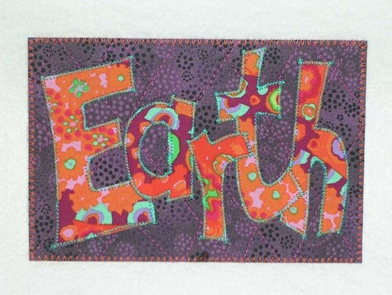 Earth   Quilted and Appliqued Fabric Postcard  Be KInd To Our Planet
