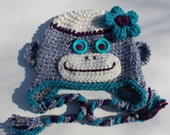 Cute Soft Monkey Ear Flap Hat with the flower  for Girl / Purple / Cream / Turquoise  - 12mo - 3T Ready To Ship