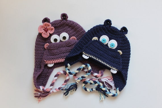 Crochet Hippo Hat -for Boy or Girl - size Newborn -  Adult   - Made to Order - Many Colors Available