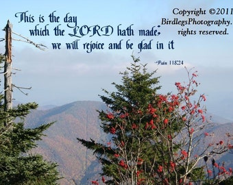 Beautiful Mountains and Trees of North Carolina with Bible Verse