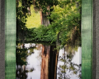 Reflecting Pool, Phinizy Swamp - Augusta, Georgia in a 9x12 Light Curly Maple with Green Dye Frame