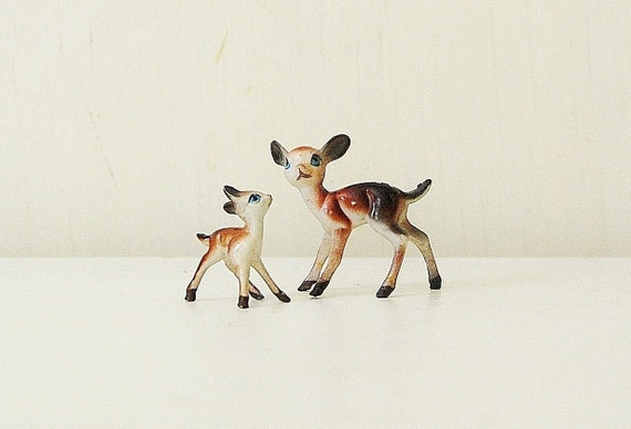 Deer Fawn Plastic Toy Mama and Baby
