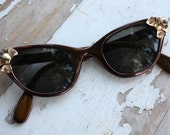 1950's Vintage Tura Aluminum Frame Hollywood Glamour Cat Eye Glasses Eyeglasses Sunglasses