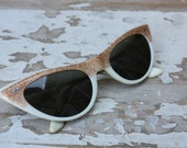 Vintage 1950's Old Hollywood White Plastic Cat Eye Sunglasses with Glitter and Star Accents