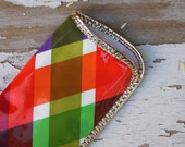 Vintage 1960's Brightly Colored Plaid Diamond Patterned Eye Glass Case