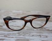 1950's Vintage Chocolate and Caramel Cat Eye Rockabilly Eyeglass Frames B&L