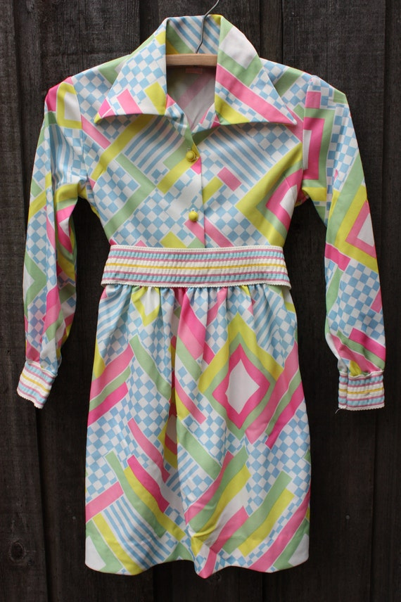 Vintage 1960's Ruth of Carolina Girls Children's Mod Dress