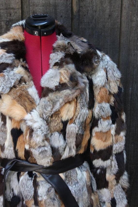 Vintage Couture Patchwork Rabbit Fur Coat Small