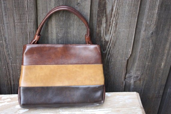 Vintage 1960's 70's Chocolate and Caramel Autumnal Purse