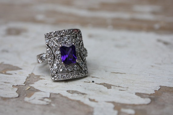 Vintage Diamond and Sapphire Oversized Costume Jewelry Cocktail Ring Size 8.5 - 9